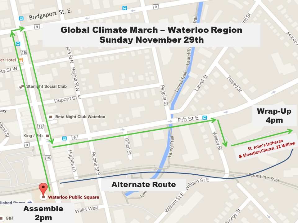 Map showing route for climate march in Waterloo November 29