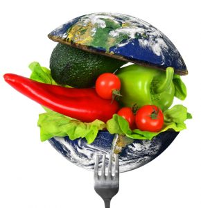 Image of vegetables inside two halves of a globe