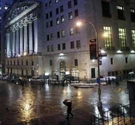 Picture of New York Stock exchange closed by Hurricane Sandy