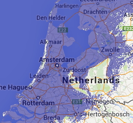 Map of The Netherlands after 7m sea level rise (Credit:geology.com)